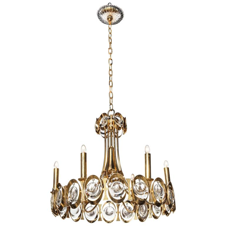 Palwa Germany Gilt Brass and Austrian Crystal Candlestick Chandelier, 1960s  For Sale