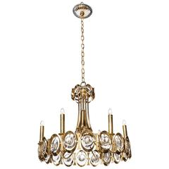 Palwa Germany Gilt Brass and Austrian Crystal Candlestick Chandelier, 1960s
