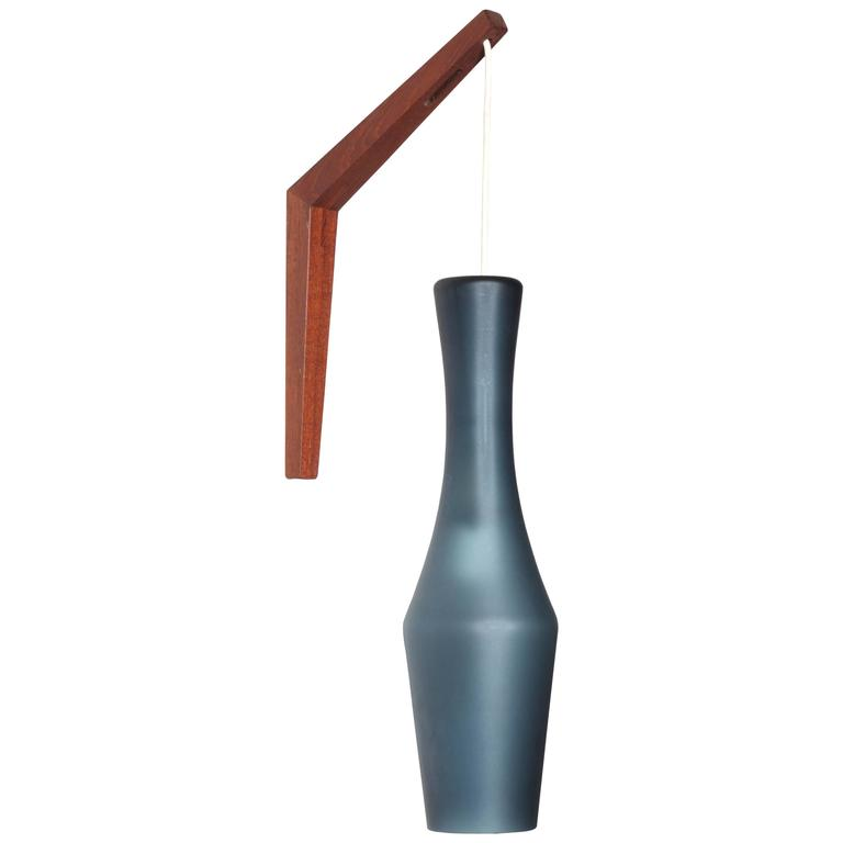 1960 s Danish Modern Teak Wall Sconce with Steel Blue Glass Shade For Sale at 1stdibs