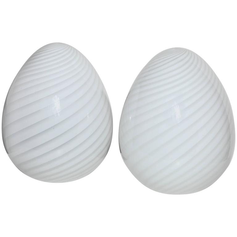 Pair of Italian Modern Vetri Murano Hand Blown Swirl White Glass Egg Table Lamps