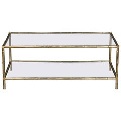 Faux Bamboo Brass and Glass Cocktail Table