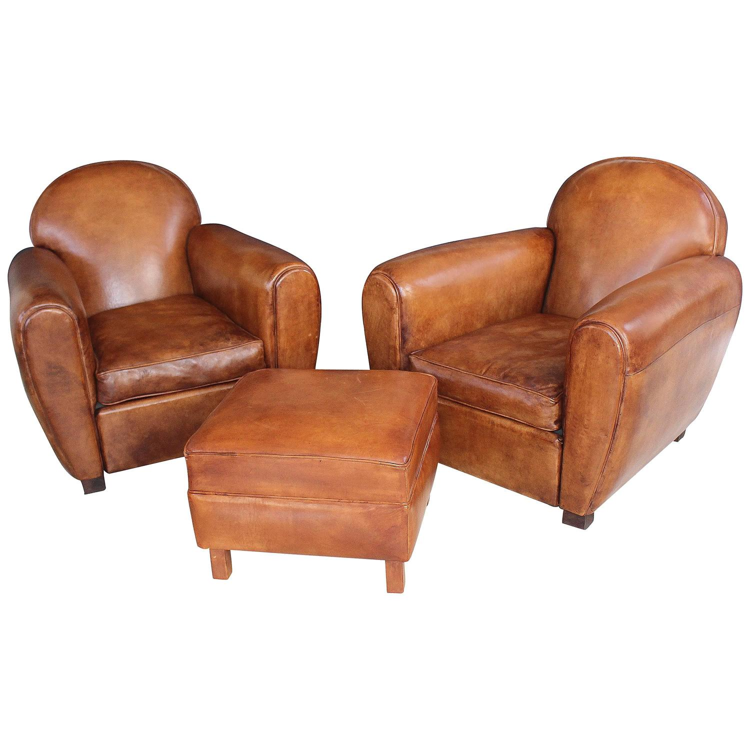 Pair of New French Leather Club Chairs with Ottoman at 1stdibs