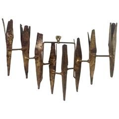 Brutalist Mid-Century Modern Gilt Metal Wall Sconce by Tom Greene