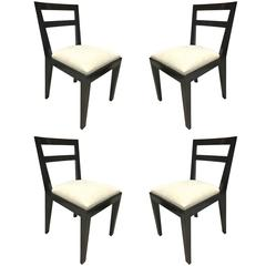 Jean Royère Set of Four Chairs with Tapered Back and Front Legs
