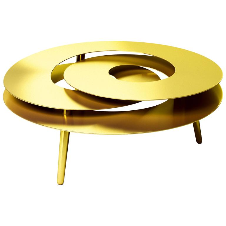 Gold Plated Coffee Table: Rollercoaster Medium Coffee Table Stainless Steel Gold