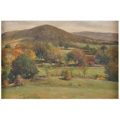 19th Century Oil Painting of Autumn Landscape with Hills and Red Barn