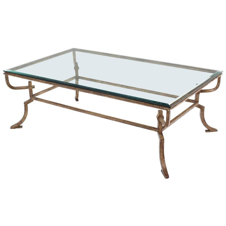 Heavy wrought iron studio work base glass top coffee table for Oval wrought iron coffee table with glass top