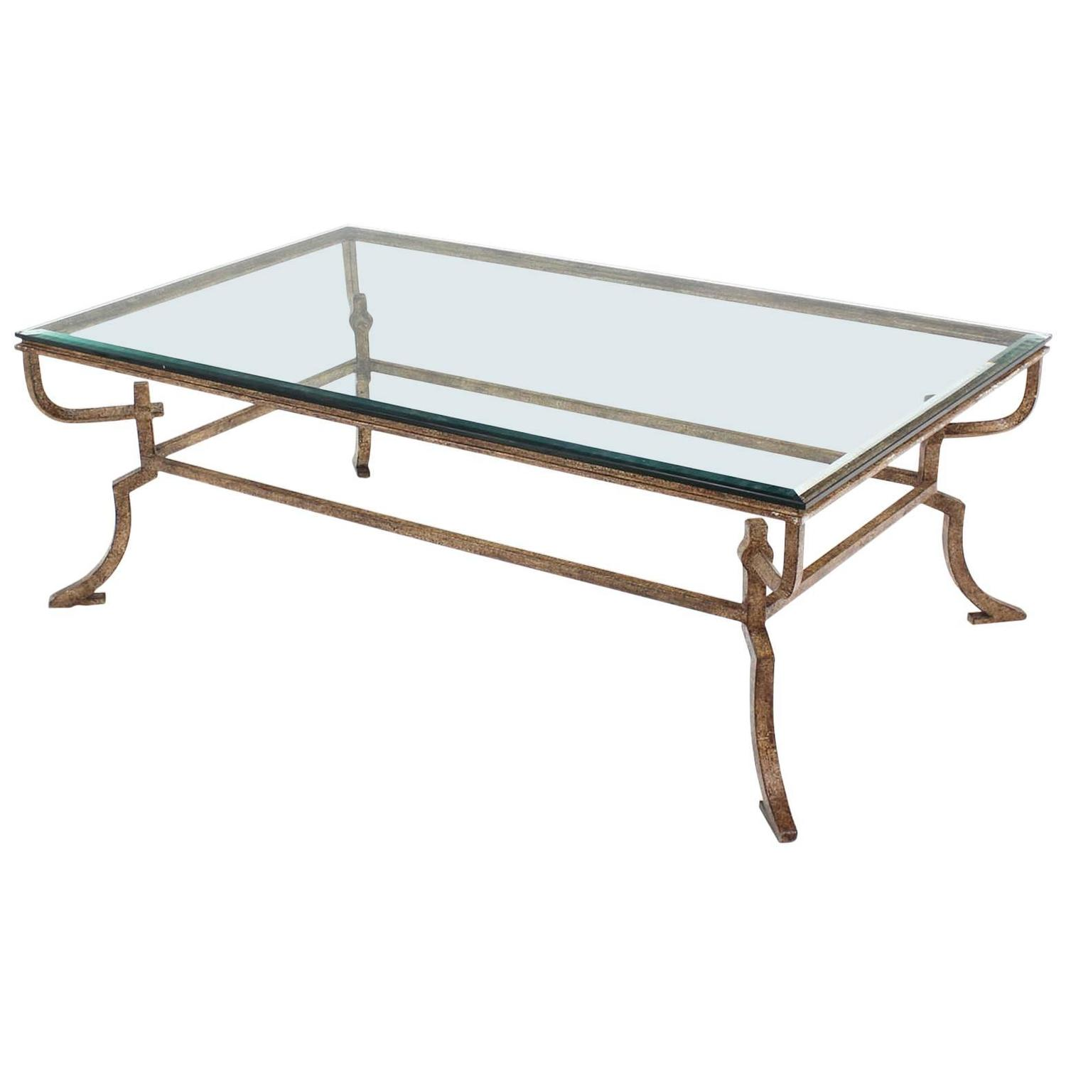 Glass Top Coffee Table With Iron Base: Heavy Wrought Iron Studio Work Base Glass Top Coffee Table