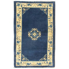 Antique Chinese Peking Carpet in Dark Blue Background