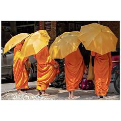 Cambodian Monks Moving on Photograph