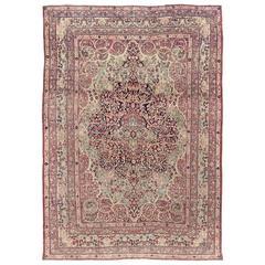 Rare 17th Century Persian Vase Kerman Carpet For Sale At