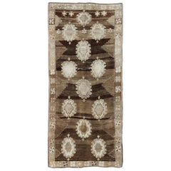 Large Gallery Oushak Rug with Geometric Design and Florals