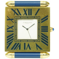 Blue Enamel and Brass Cartier Traveling Desk Clock