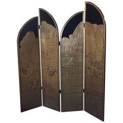 Four-Panel Art Deco Style Floor Screen, Gold and Black
