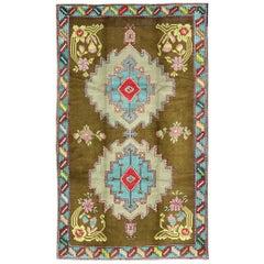 Bright Vintage Turkish Carpet in Green and Unique Vivid Colors & Design