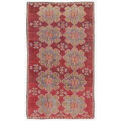 Vintage Turkish Embroidered Kilim Rug