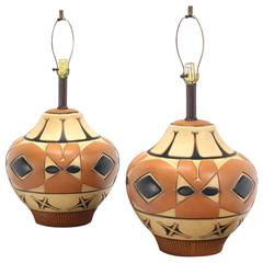 Pair of Large Vase Onion Shape  Art Pottery Bases Table Lamps