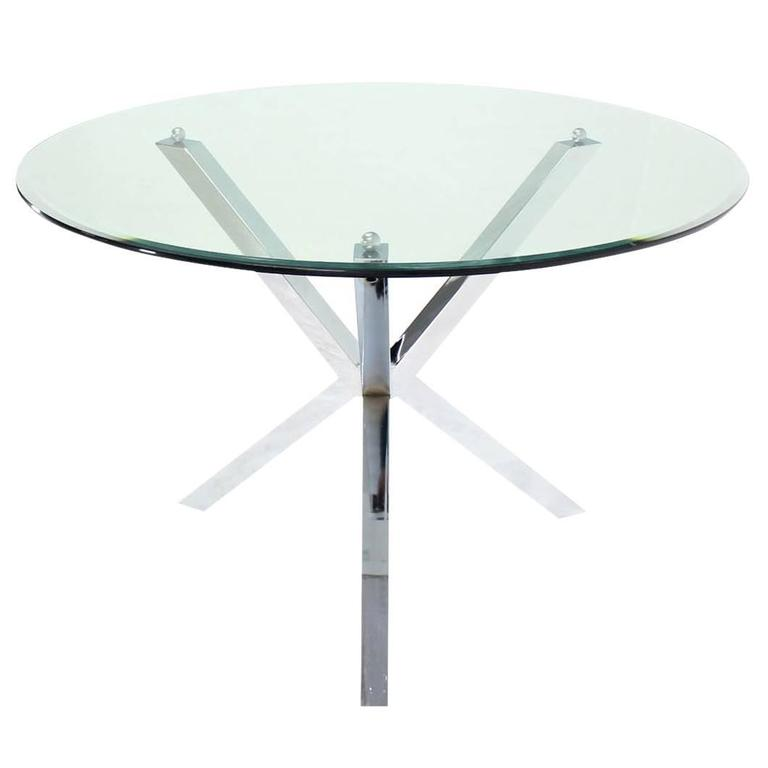 Thick Glass Top Jacks Shape Base Dining Center Game Table Gueridon