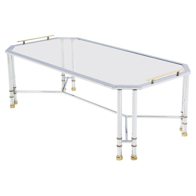 Rectangular Chrome Brass Glass Coffee Table Tray Style Mid Century Modern