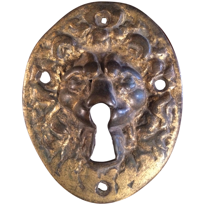 18th Century Gilt Bronze Lion Escutcheon