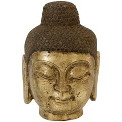 Stone Carved Guilt Buddha Head