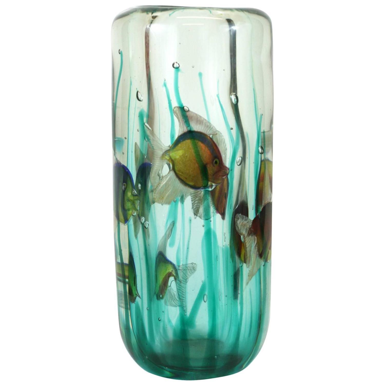 Alfredo barbini aquarium vase with light base pauly and for Vase aquarium rond
