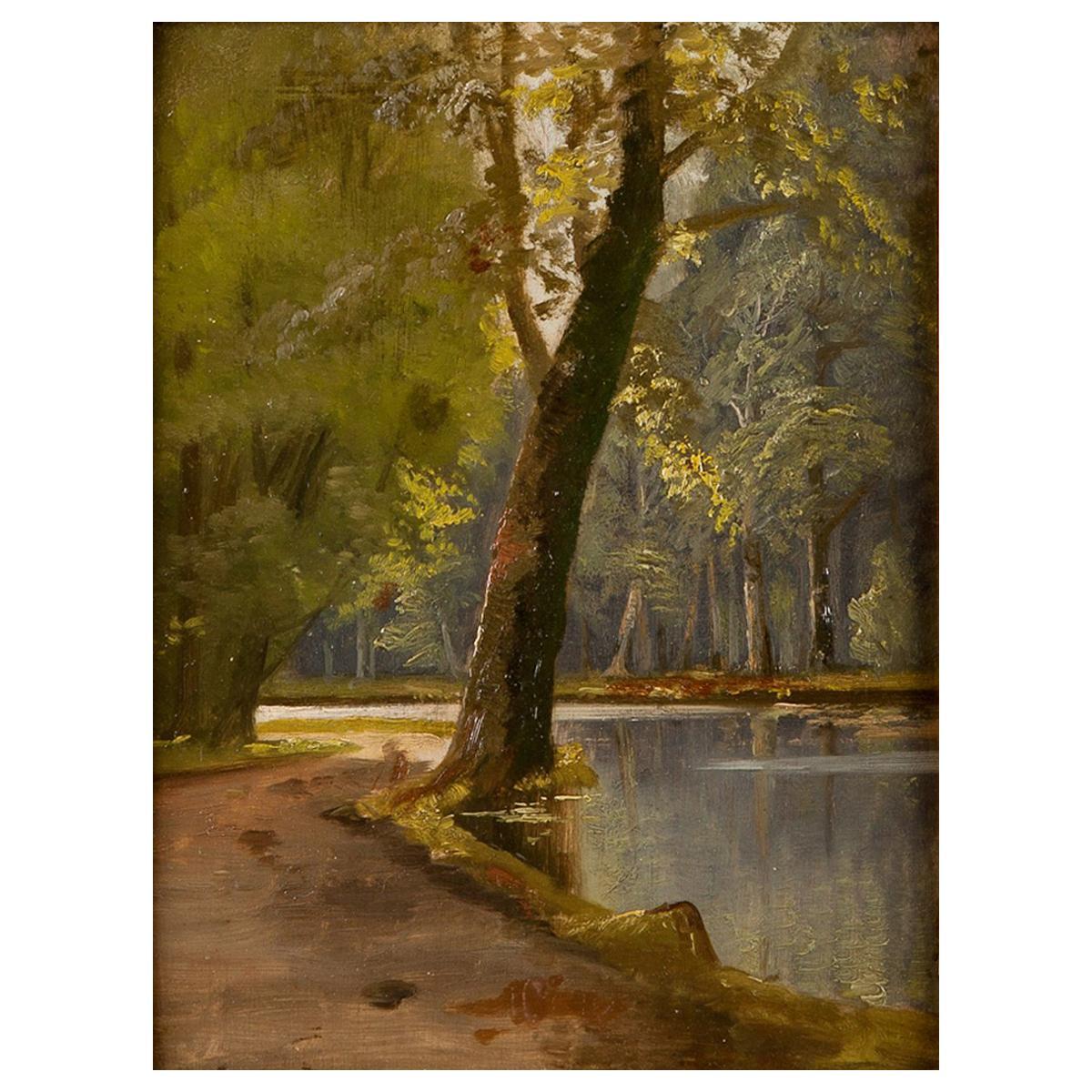 19th Century Oil Painting of Forest Landscape/ Riverscape by Peder Mørk Mønsted