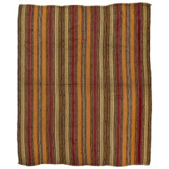 Vintage Turkish Kilim, Banded Flat-Weave Rug
