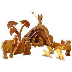 Nativity Scene Pine Wood France, 1960