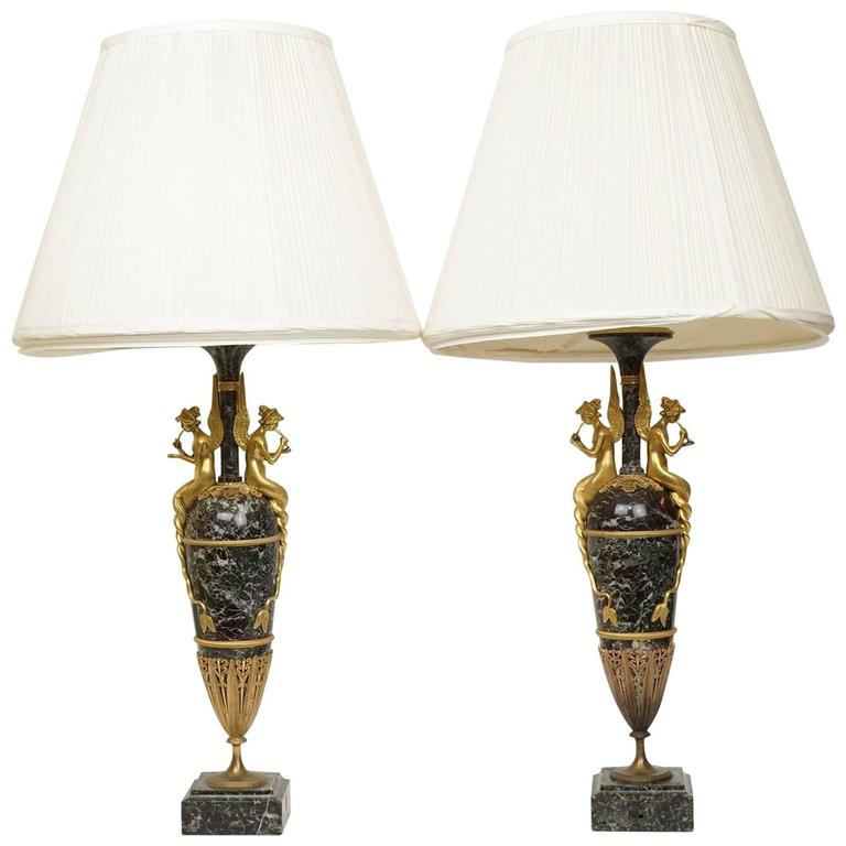 Neoclassical Pair of Russian Empire Style Bronze and Marble Figural Table Lamps