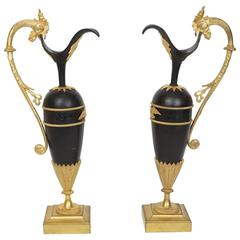 Pair of Russian Empire Style Patinated and Gilt Bronze Ewers with Rooster Head