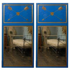 Pair of Large Size Blue Glass Trumeau Mirrors with Arrows Motif