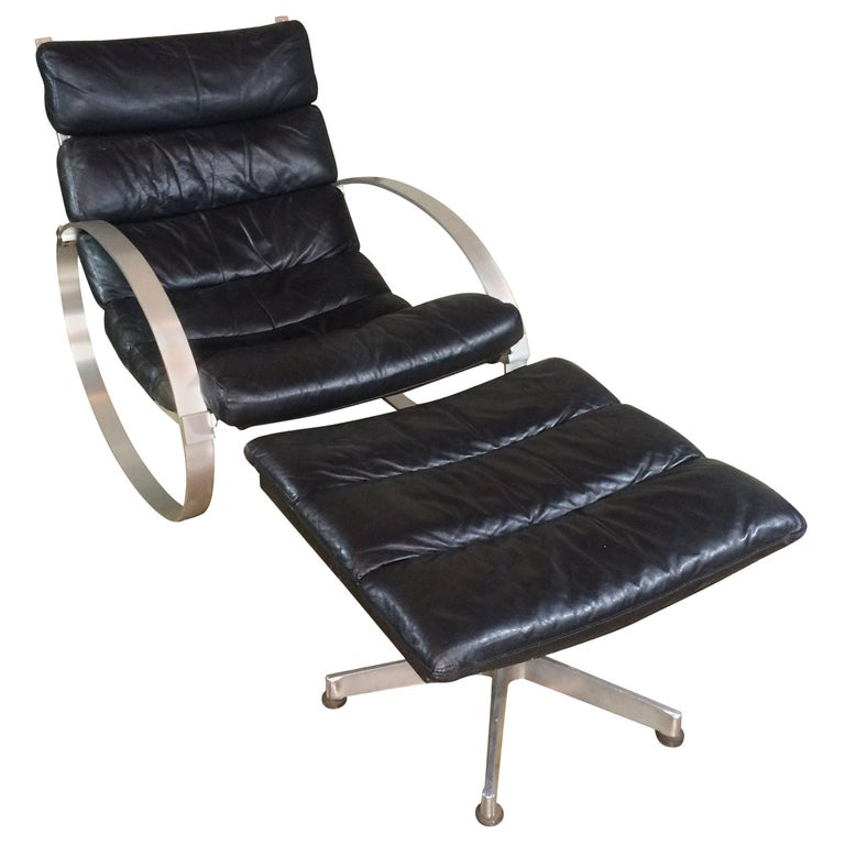 Hans Kaufeld Leather Rocking Chair and Ottoman For Sale