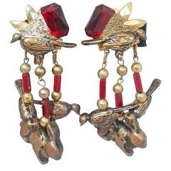 Charming 1950s Rabbit and Bird Cascade Earrings with Bakelite Chain