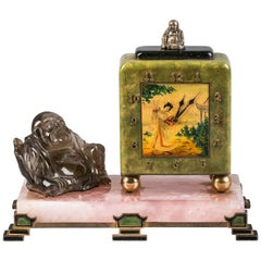 French Enameled Chinoiserie Clock, circa 1920