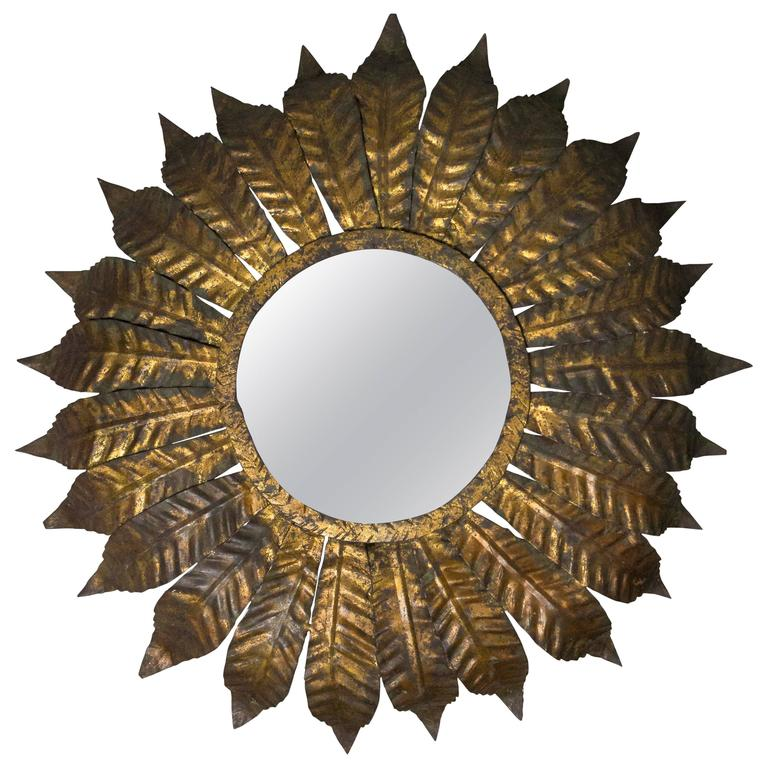 Spanish Gilt Metal Flush Mount Sunburst Ceiling Fixture For Sale