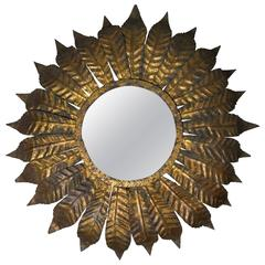 Spanish Gilt Metal Flush Mount Sunburst Ceiling Fixture