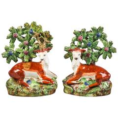 Pair of English Pearlware Deer, Staffordshire, circa 1820