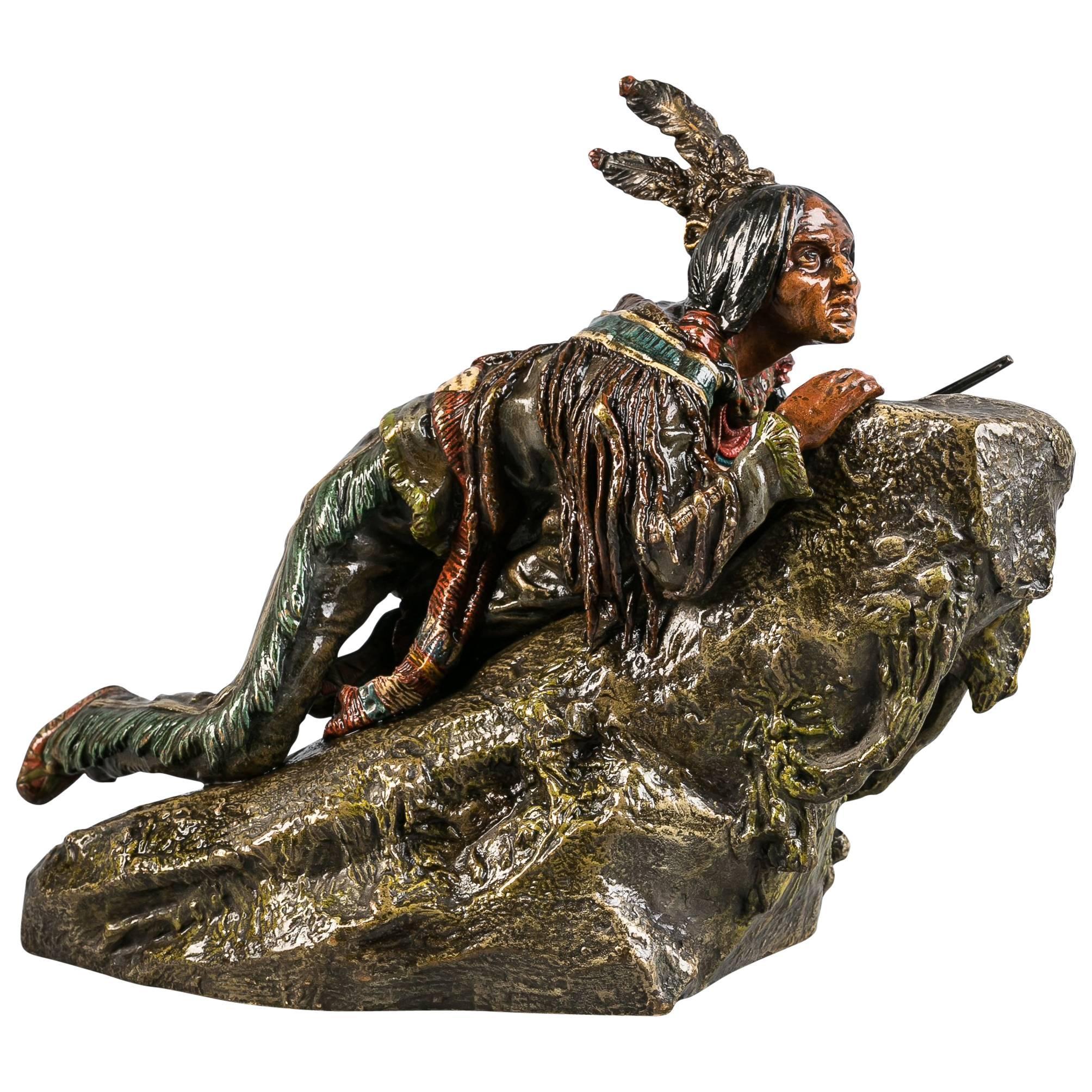 Austrian Bronze Indian Group, Carl Kauba (1865-1922)
