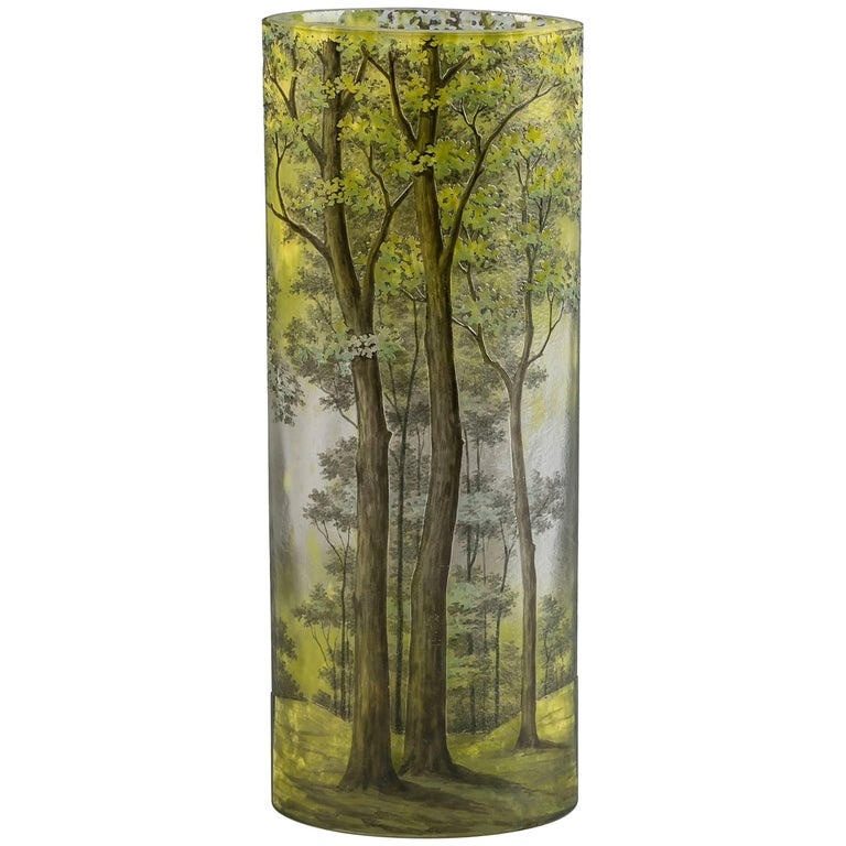 Daum Nancy Cylindrical Vase, circa 1910 For Sale