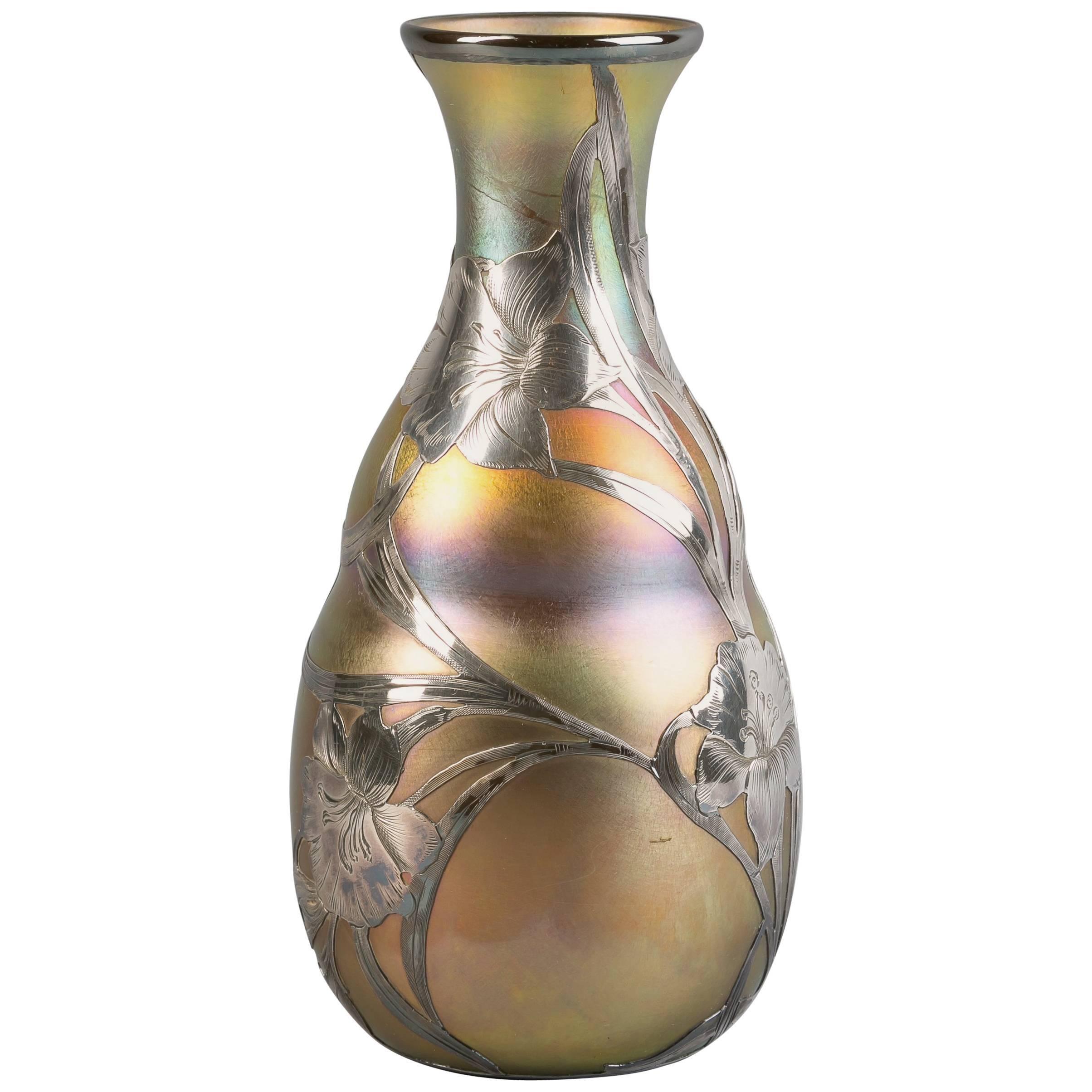 Silver Overlay Vase, Quezal, circa 1900