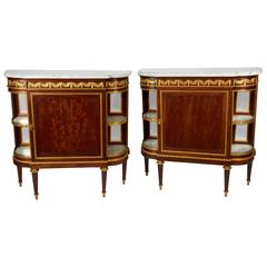 Fine Pair of French Louis XVI Style Side Cabinets or Vitrines, Attributed Dasson
