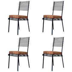 Set of Four Japanese-Influenced Iron Dining Chairs, France, circa 1950s