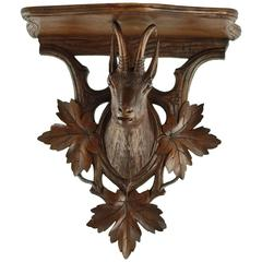19th Century Black Forest Carved Chamois Head Wall Shelf with Foliate Detail