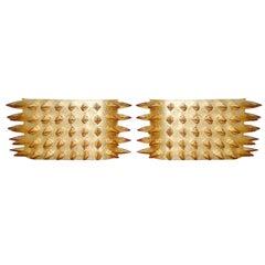 22-Karat Gold Leafed Spike Sconces