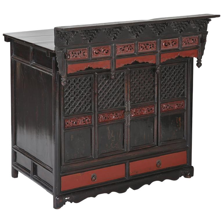Antique Black Red Lacquer Table Shrine Cabinet Carved Lattice Doors Chinoiserie For