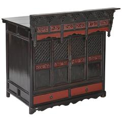 Antique Black/Red Lacquer Table Shrine Cabinet Carved Lattice Doors Chinoiserie