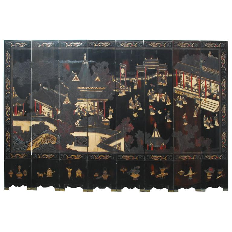 Chinese Eight-Panel Coromandel Screen