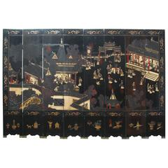 Chinese Qing Eight-Panel Coromandel Screen