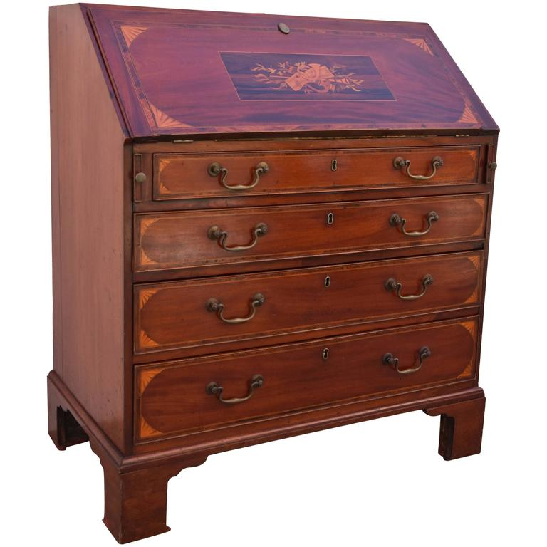 Drop Front Secretary with Marquetry, 19th Century